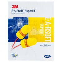 3M™ 311-1254 E-A-Rsoft™ SuperFit™ Earplugs, Corded, Poly Bag, Regular Size, 200 Pair/Box