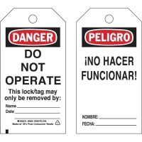 BRADY DANGER Do Not Operate Lockout Tagout Tags/ EA