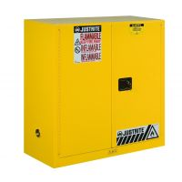 Justrite Sure-Grip® EX Flammable Safety Cabinet, 30 Gallon, 44 Inch Height, 2 Manual Close Doors, Yellow - 893000