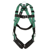 MSA V-FORM Safety Harness, 10197436, Back, Chest, Hip D-Rings, Qwik-Fit Leg Straps