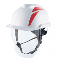 V-Gard 950 Cap, Non-Vented, White, Red Stickers, With 4 Point Chinstrap Fitted And Reusable Bag