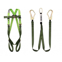 Economy Full Body Harness with Double Leg Lanyard Set