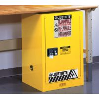 Justrite Sure-Grip® EX Compac Flammable Safety Cabinet, 12 Gallon, 1 Self-Close Door, Yellow - 8912201