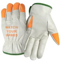 Grain Leather Driver Gloves with Hi-Vis Fingertips
