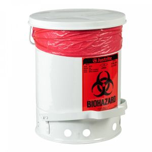 JUSTRITE Biohazard Waste Can, 6 Gallon, Foot-Operated Self-Closing Cover, White
