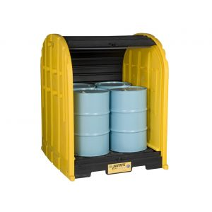 EcoPolyBlend™ DrumShed™ With Rolltop Doors, Accommodates 4 Drums, Polyethylene