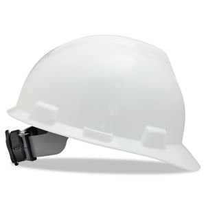 MSA Safety Helmet, V-Gard® Polyethylene Cap Style Hard Hat With 4 Point Ratchet/Ratchet Suspension, White